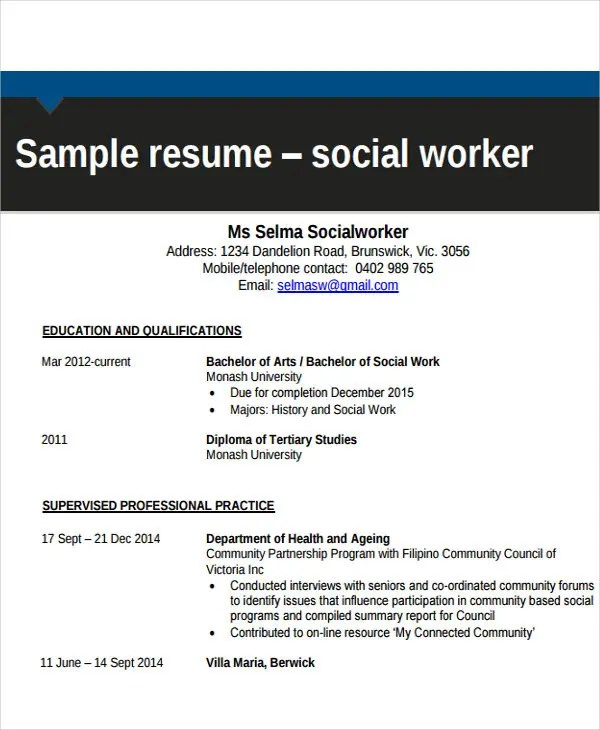 17+ Free Work Resume Templates - PDF, DOC Free  Premium Templates - Sample Social Worker Resume