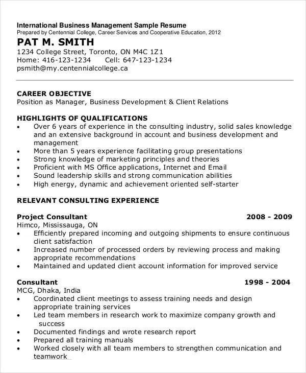 international resume format template