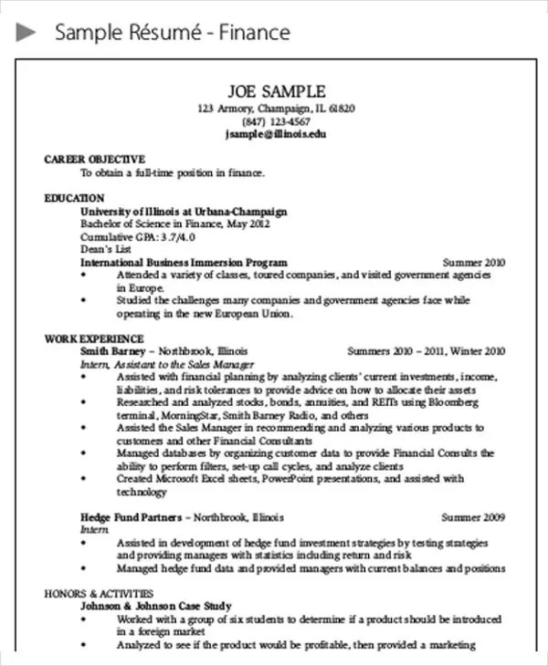 25+ Finance Resumes in PDF Free  Premium Templates