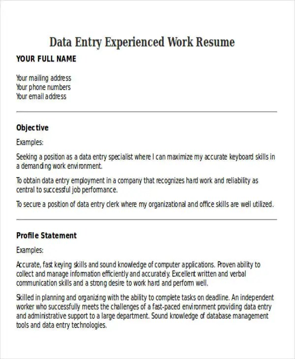 25+ Printable Work Resume Templates Free \ Premium Templates - resume for data entry
