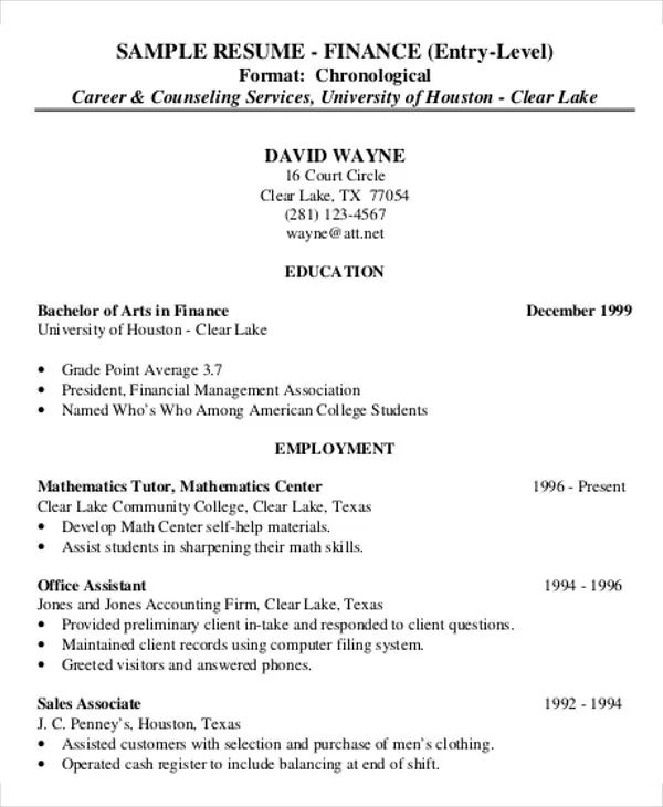 corporate resume sample