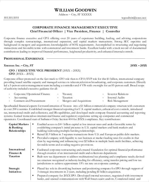 25+ Finance Resumes in PDF Free  Premium Templates