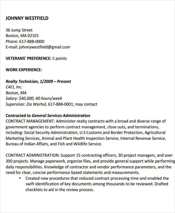 17+ Free Work Resume Templates - PDF, DOC Free  Premium Templates - government contracting officer sample resume