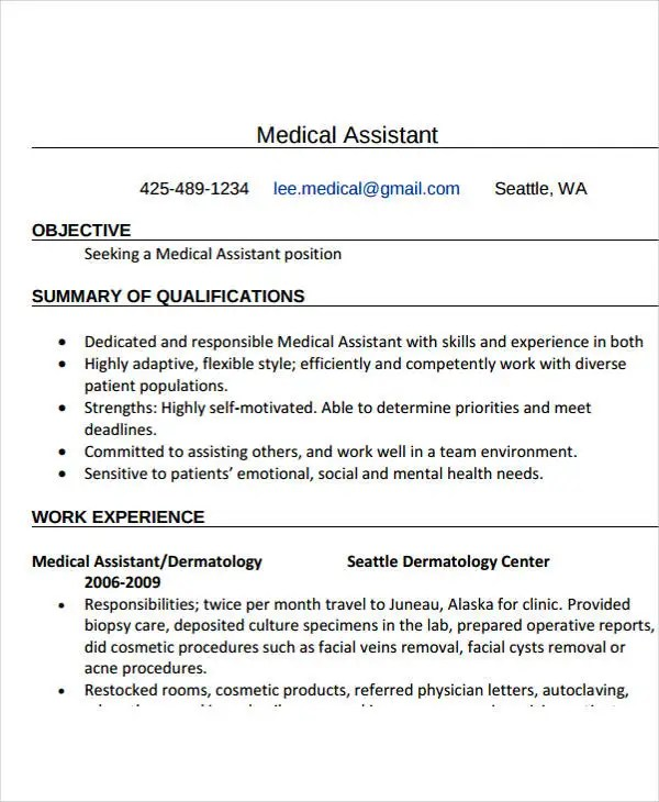 17+ Free Work Resume Templates - PDF, DOC Free  Premium Templates - medical assistant dermatology resume