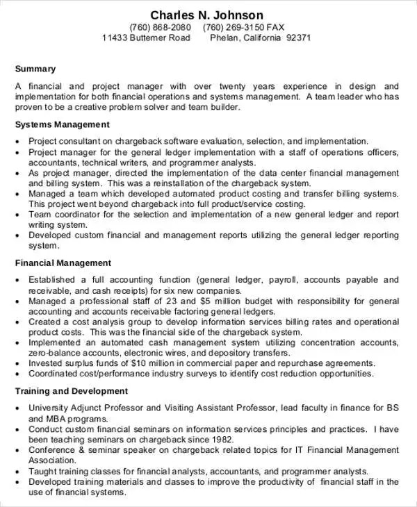 25+ Finance Resumes in PDF Free  Premium Templates - finance manager resume