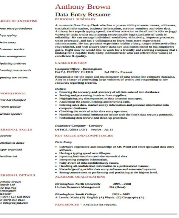 Resume For Data Entry - charge entry specialist sample resume