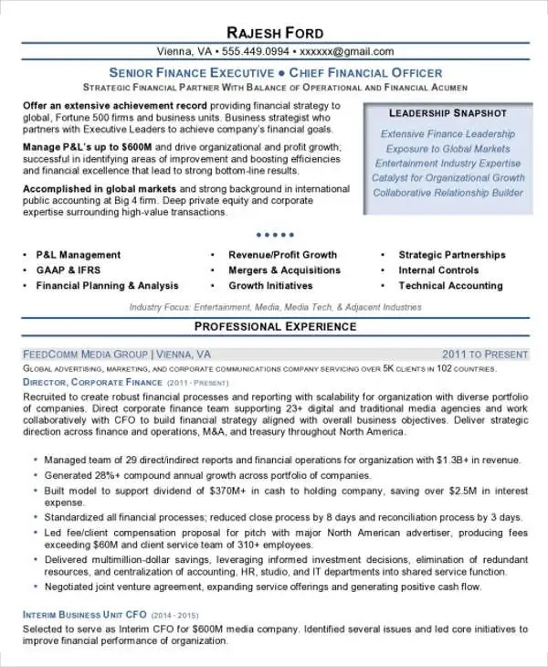 finance resume format - Brucebrianwilliams - finance resume