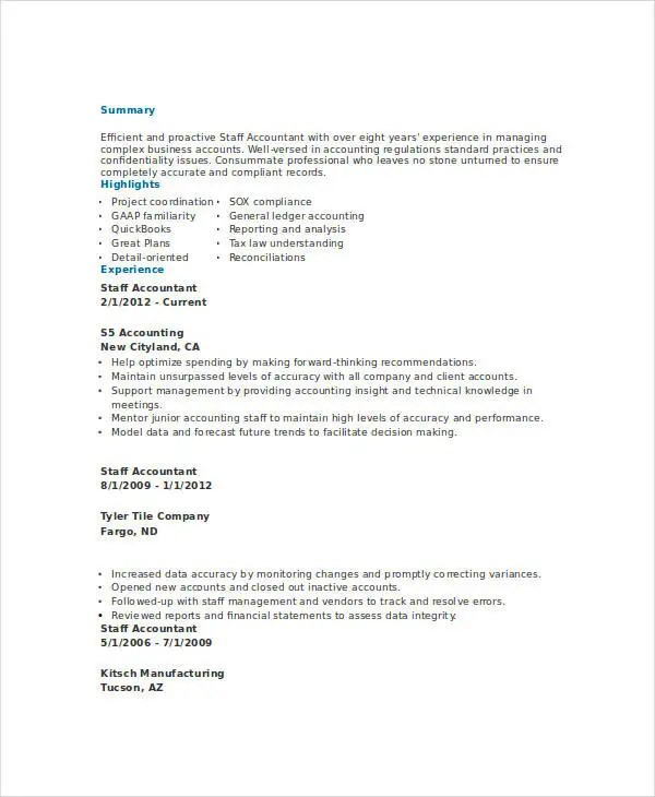 31 Accountant Resume Samples Free Premium Templates Junior Accountant  Resume   Sample Staff Accountant Resume