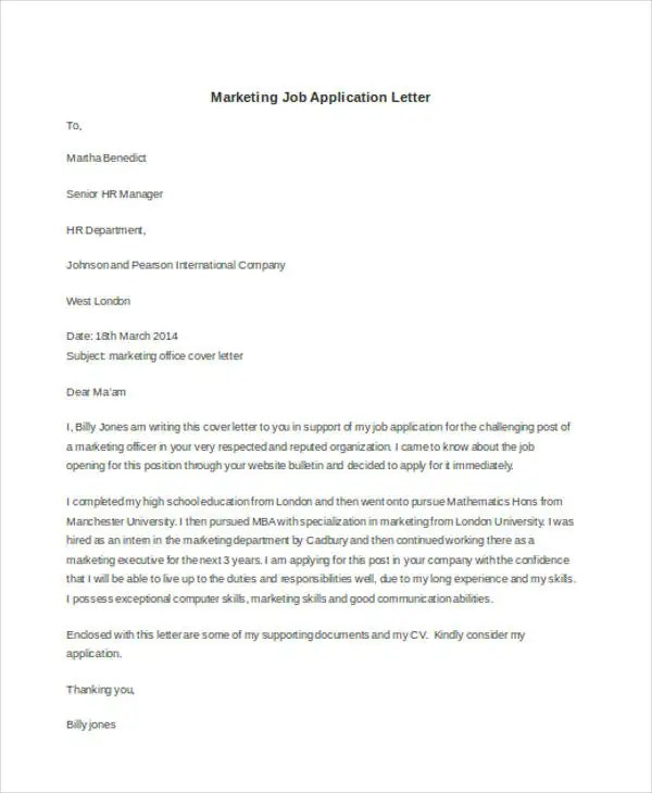 Resume Cover Letter Examples Get Free Sample Cover Letters 22 Application Letter Templates In Doc Free And Premium