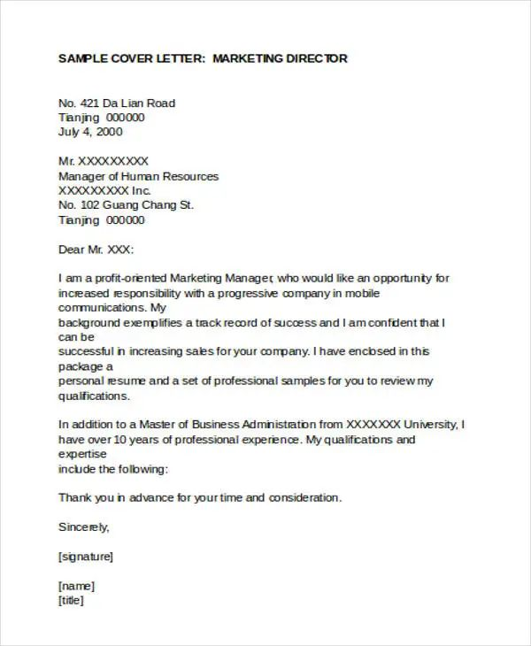 marketing sample cover letters