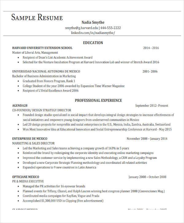 20+ Basic Administration Resume Templates - PDF, DOC Free - administration resume template