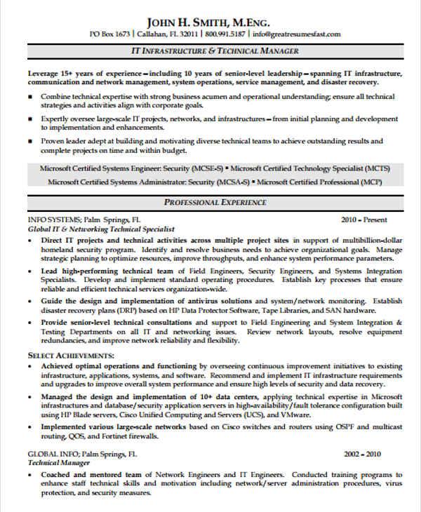 20+ IT Resume Templates in PDF Free  Premium Templates - it infrastructure resume