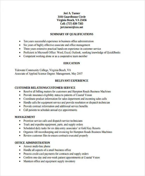 32+ Basic Administration Resume Templates - PDF, DOC Free
