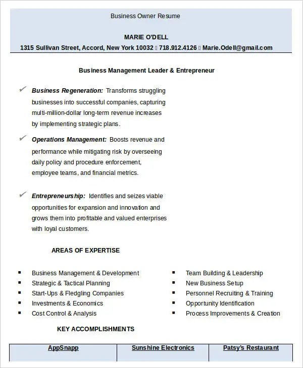 13+ Business Resume Templates in Word Free  Premium Templates