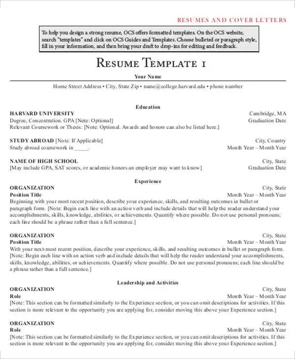 harvard ocs resume template