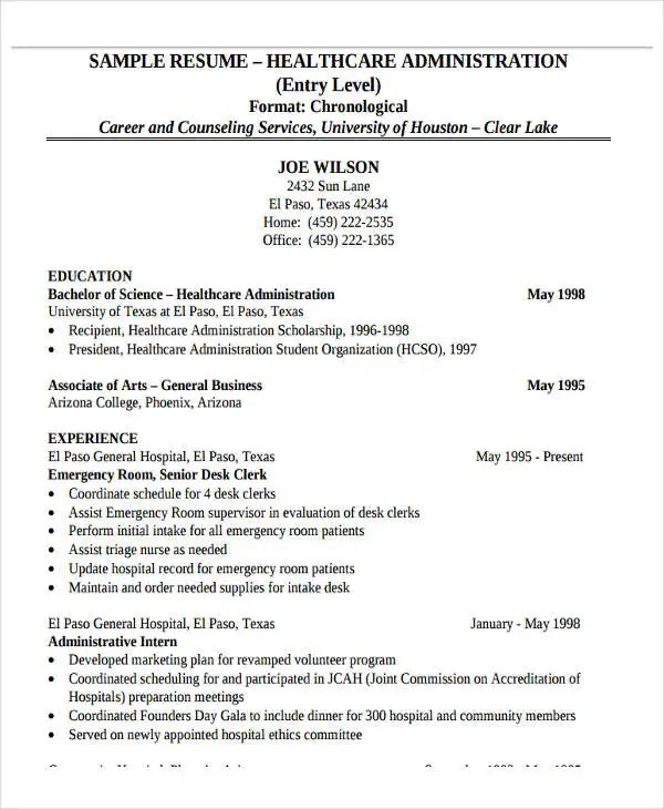 Entry Level Healthcare Administration Resume Examples - Examples of