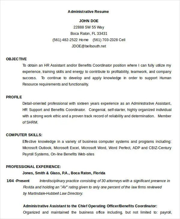 33+ Best Administrative Resume Templates - PDF, DOC Free  Premium