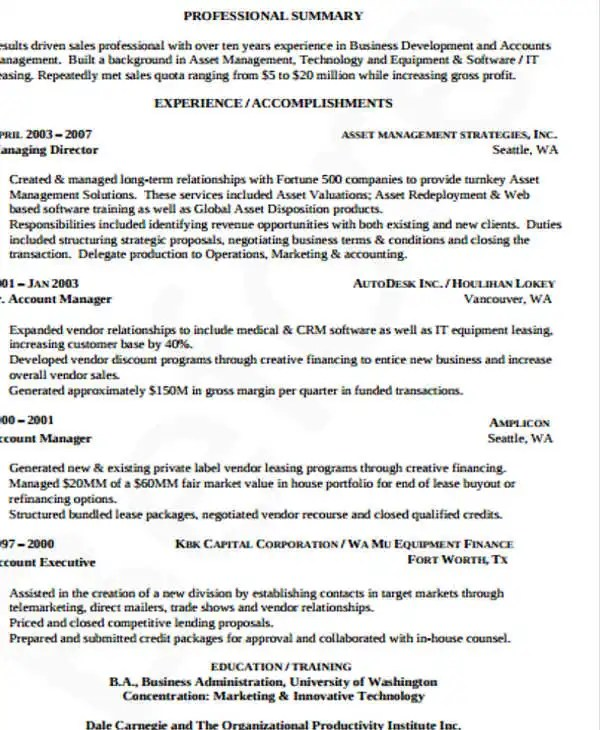 Digital Assets Management Resume. Sales And Operations Executive