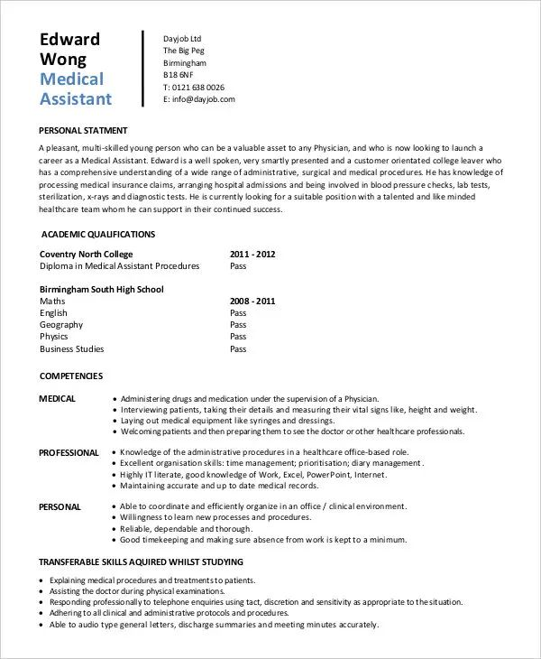 medical office assistant sample resume