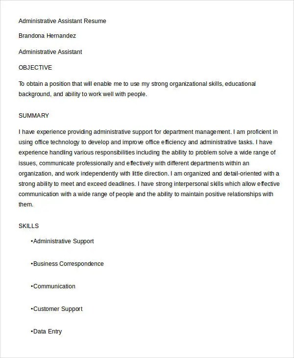 Best Administrative Resume - 17+ Free Word, PDF Documents Download - admin assistant resume