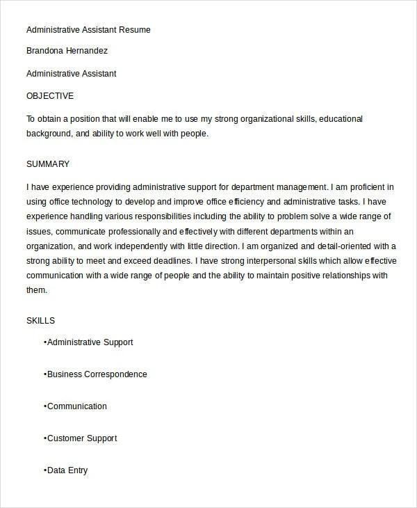 17+ Best Administrative Resume Templates - PDF, DOC Free  Premium