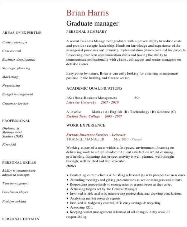 Resume Sample For Business Administration Graduate - Costumepartyrun