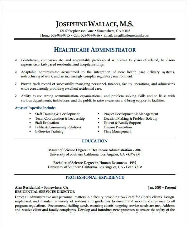20+ Basic Administration Resume Templates - PDF, DOC Free - administration resume format