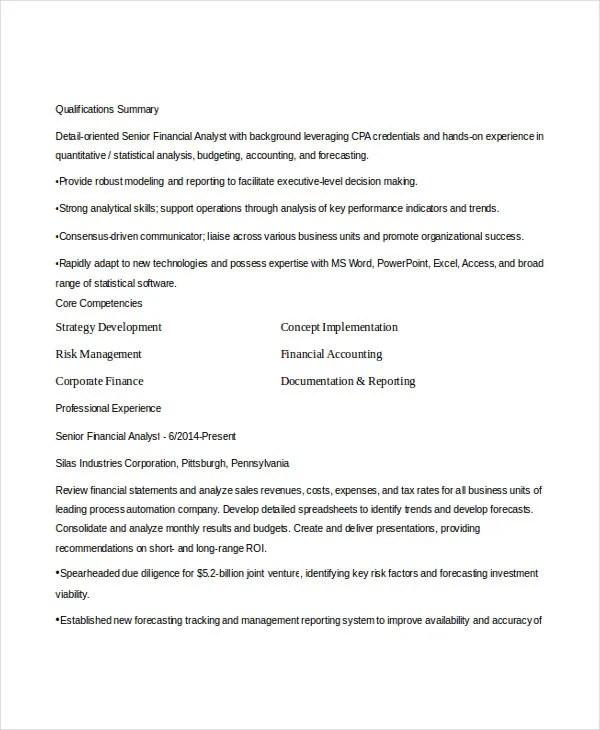 Basic Finance Resume - 44+ Free Word, PDF Documents Download - business analyst resume summary
