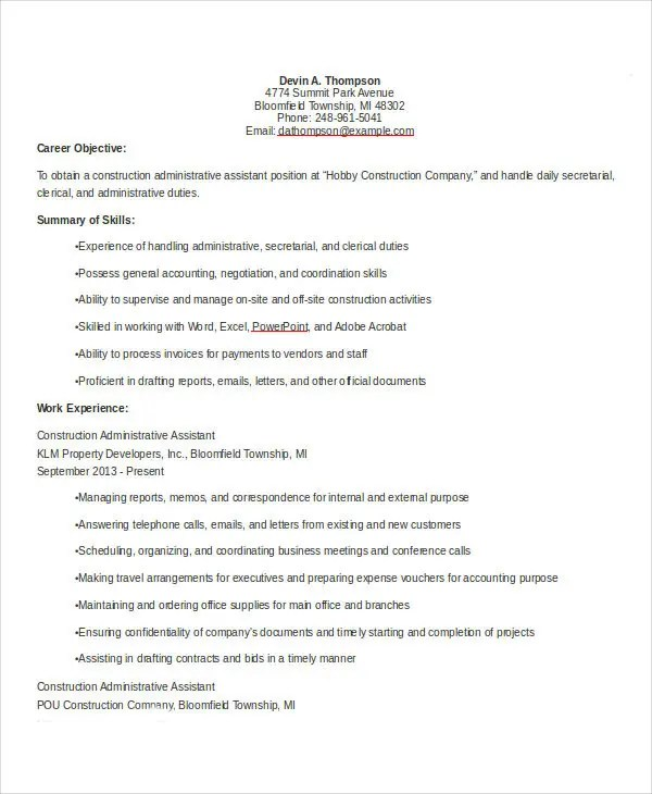 Construction Administrative Assistant Resume Example - oukasinfo