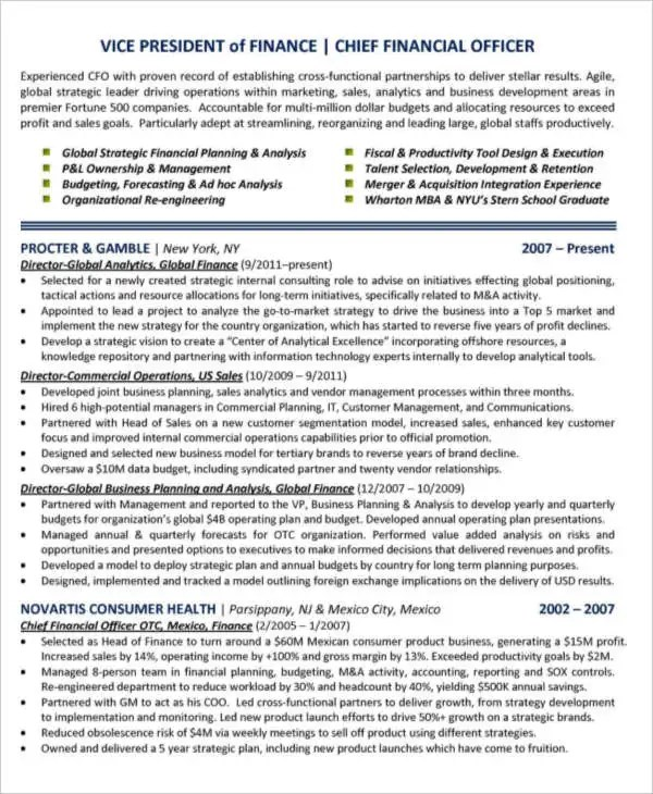 Basic Finance Resume - 44+ Free Word, PDF Documents Download - chief financial officer resume