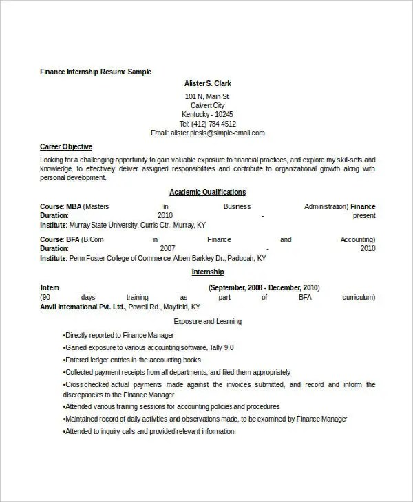 28+ Finance Resume Templates - PDF, DOC Free  Premium Templates