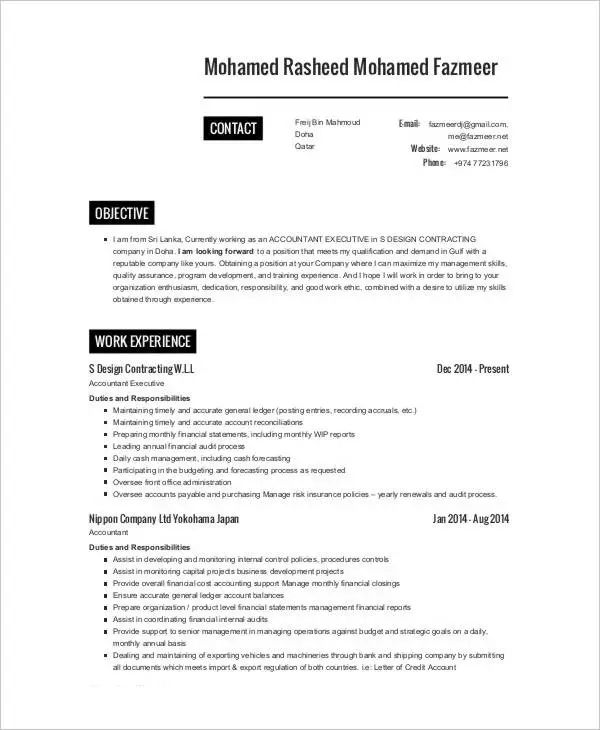 construction company accountant resume sample