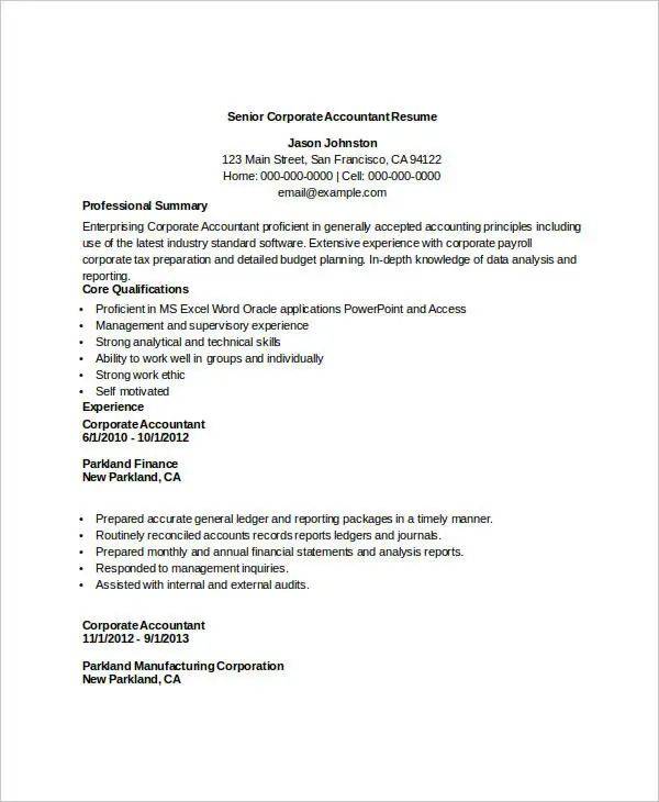 accountant resume sample download