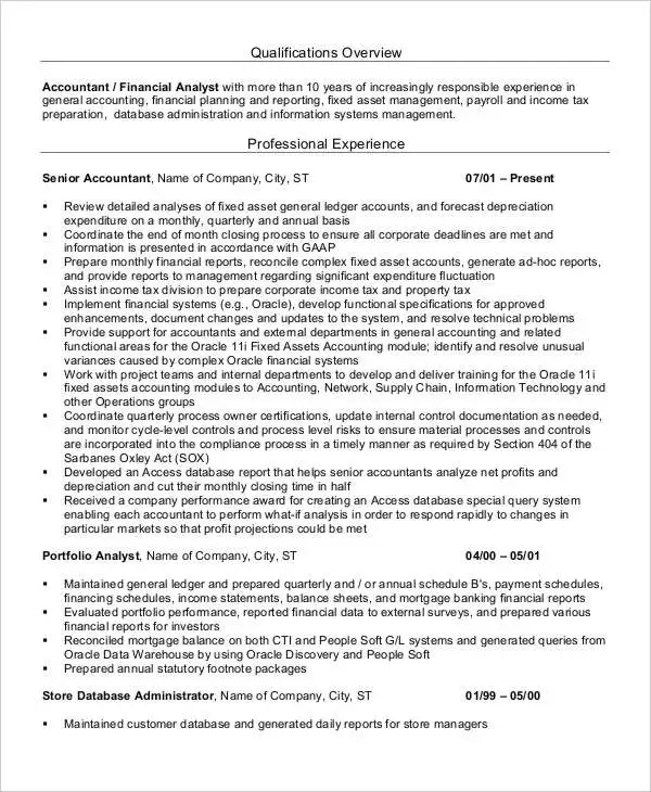 25+ Printable Accountant Resume Templates - PDF, DOC Free - Fixed Asset Accountant Sample Resume