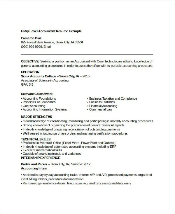 Accountant Resume Examples Commercetools  - entry level accounting resume objective