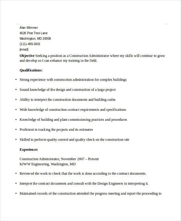 construction administrator sample resume cvresumeunicloudpl - Construction Administrator Sample Resume