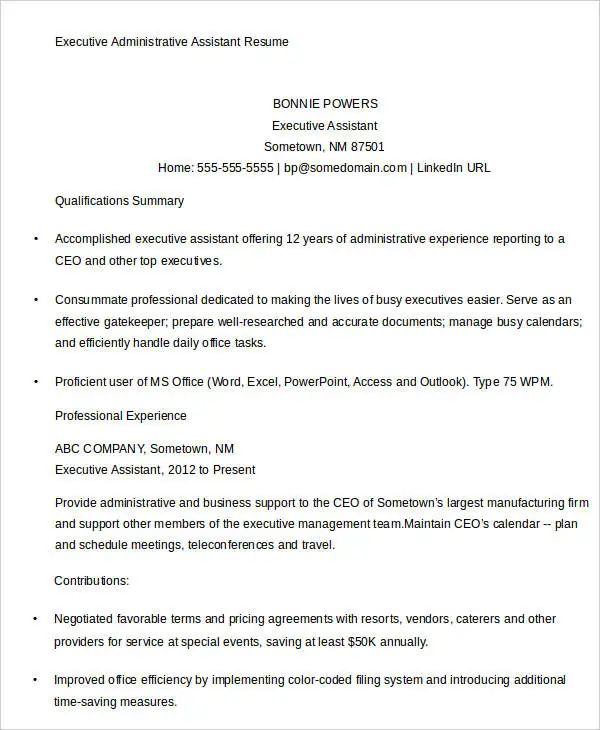 sample of executive administrative assistant resume
