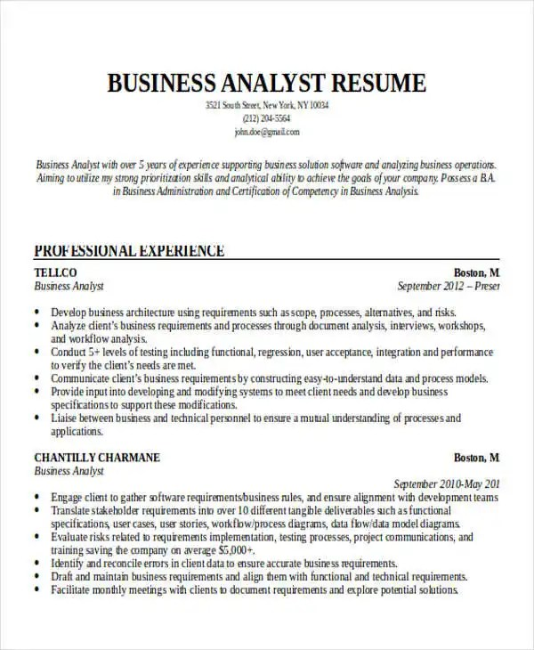 Business Analyst Resume Example 50 Business Resume Examples Free And Premium Templates