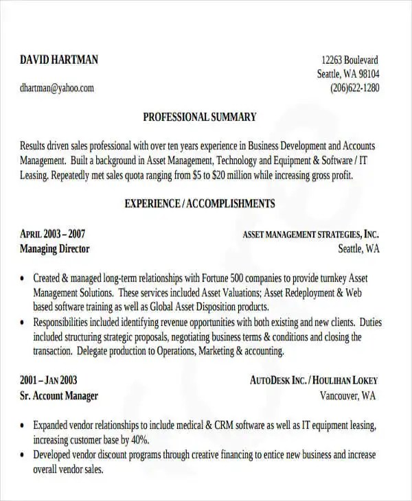 50+ Business Resume Templates - PDF, DOC Free  Premium Templates - Business Development Resume Samples