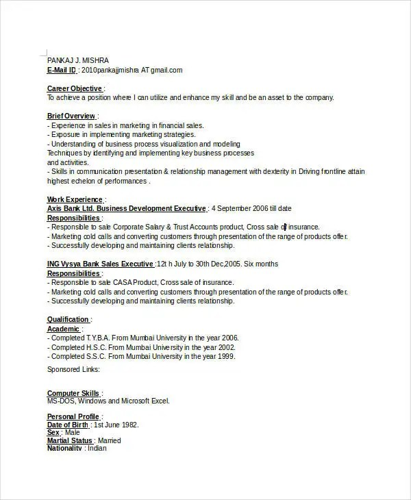 Professional Executive Resume Template - 34+ Word PDF Documents - sample resume for business development executive