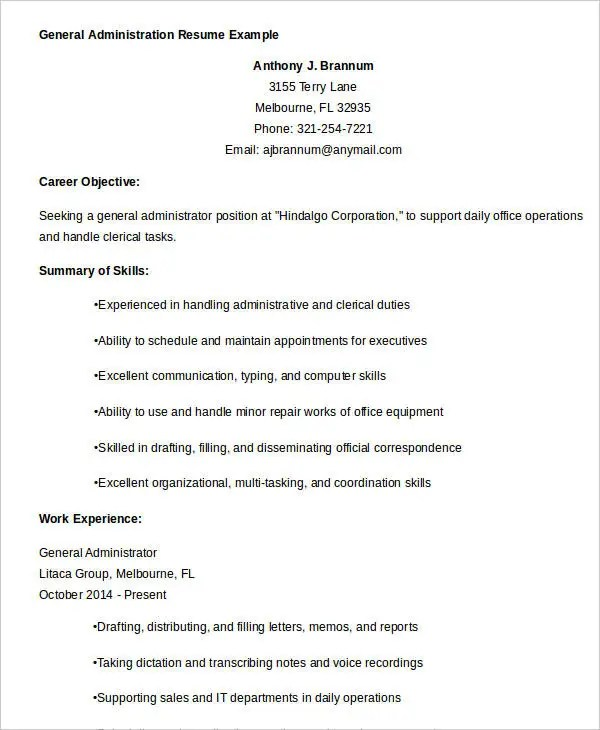 Best Administrative Resume - 17+ Free Word, PDF Documents Download - clerical duties resume