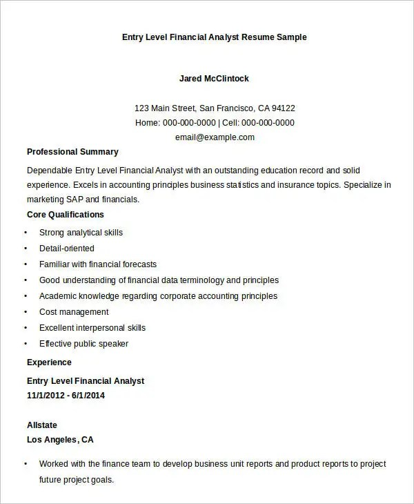 Financial Analyst Resumes Financial Analyst Resume-Pg5 Federal - sample financial analyst resume