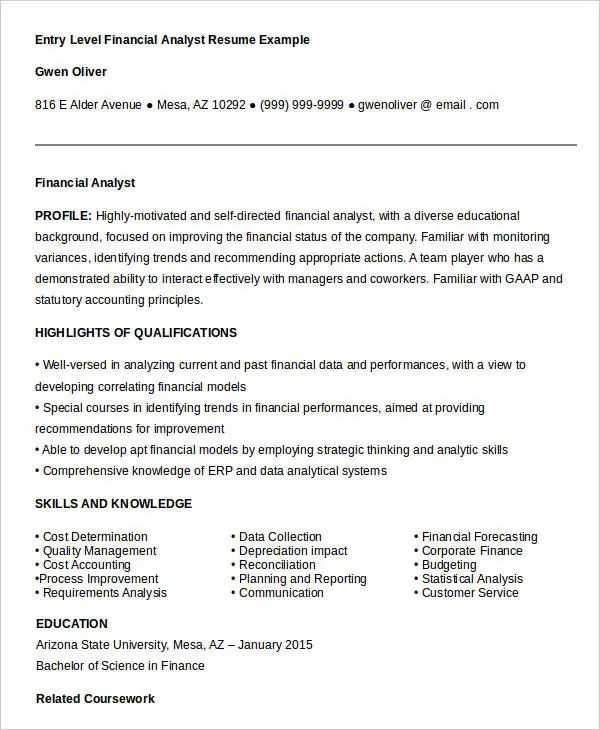 example of entry level accounting resume