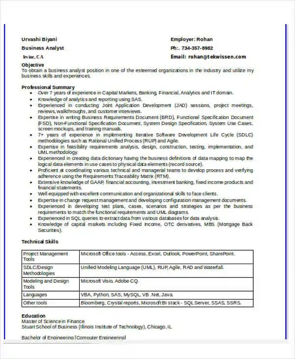 System Analyst Resume Cover Letter - business systems analyst resume