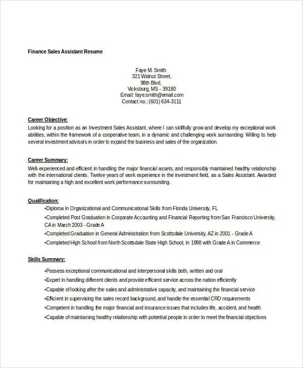 40+ Basic Finance Resume Templates - PDF, DOC Free  Premium Templates