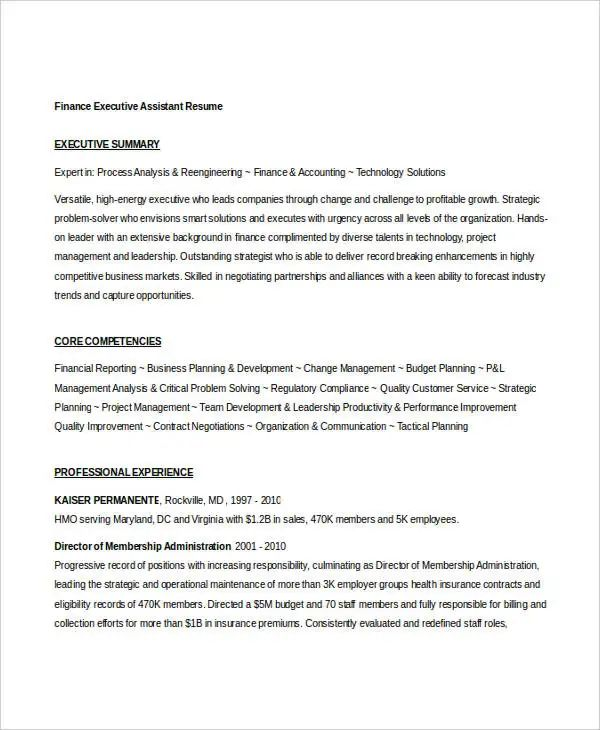 executive assistant resume templates free