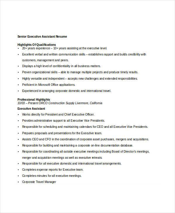 senior director sample resume