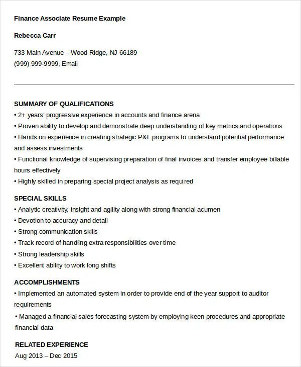 23+ Finance Resume Templates - PDF, DOC Free  Premium Templates