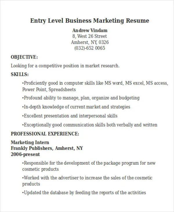 50+ Business Resume Examples Free \ Premium Templates - marketing resume examples