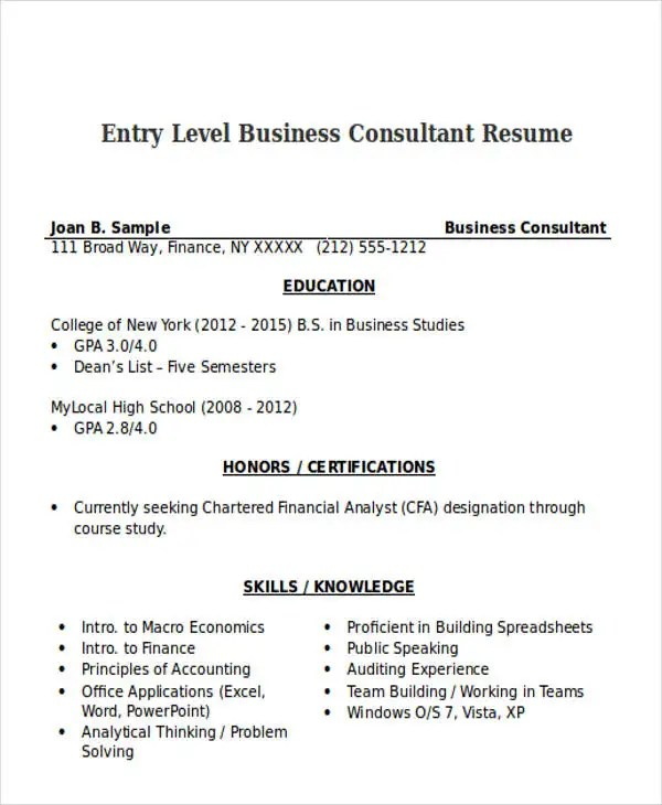 50 business resume examples free premium templates business consultant resume